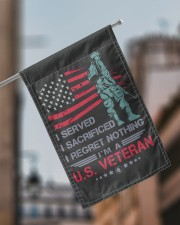 """Soldier Stand On American Flag 11.5""""x17.5"""" Garden Flag aos-garden-flag-11-5-x-17-5-lifestyle-front-17"""