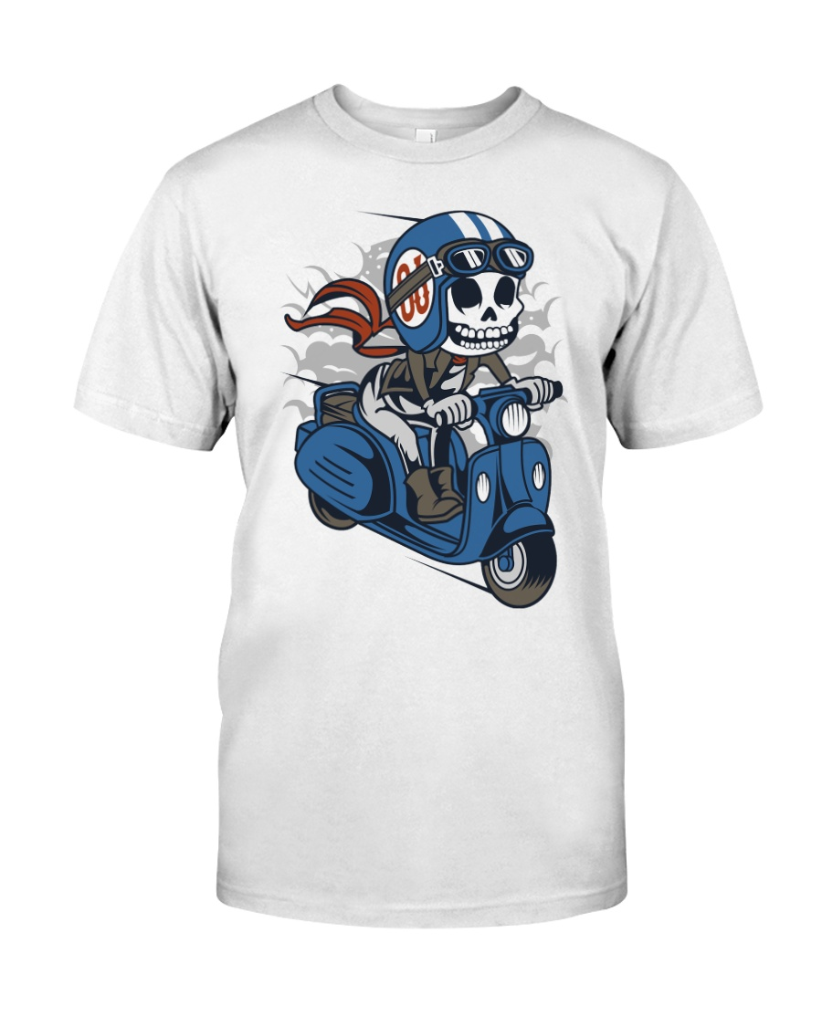 Skull scooter ride a motor Premium Fit Mens Tee