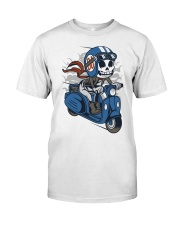 Skull scooter ride a motor Premium Fit Mens Tee front