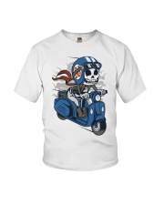 Skull scooter ride a motor Youth T-Shirt thumbnail