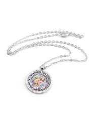 Floral Flowers My Mind Still Talks To You Necklace Metallic Circle Necklace aos-necklace-circle-metallic-lifestyle-03