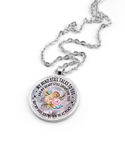 Floral Flowers My Mind Still Talks To You Necklace Metallic Circle Necklace aos-necklace-circle-metallic-lifestyle-05