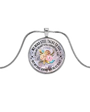 Floral Flowers My Mind Still Talks To You Necklace Metallic Circle Necklace tile