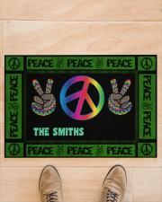 """Personalized Hippie peace symbol doormat  Doormat 34"""" x 23"""" aos-doormat-34-x-23-lifestyle-front-02"""