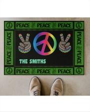 """Personalized Hippie peace symbol doormat  Doormat 34"""" x 23"""" aos-doormat-34-x-23-lifestyle-front-04"""