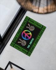 """Personalized Hippie peace symbol doormat  Doormat 34"""" x 23"""" aos-doormat-34-x-23-lifestyle-front-08"""