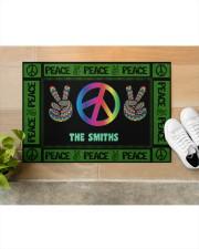 """Personalized Hippie peace symbol doormat  Doormat 34"""" x 23"""" aos-doormat-34-x-23-lifestyle-front-12"""