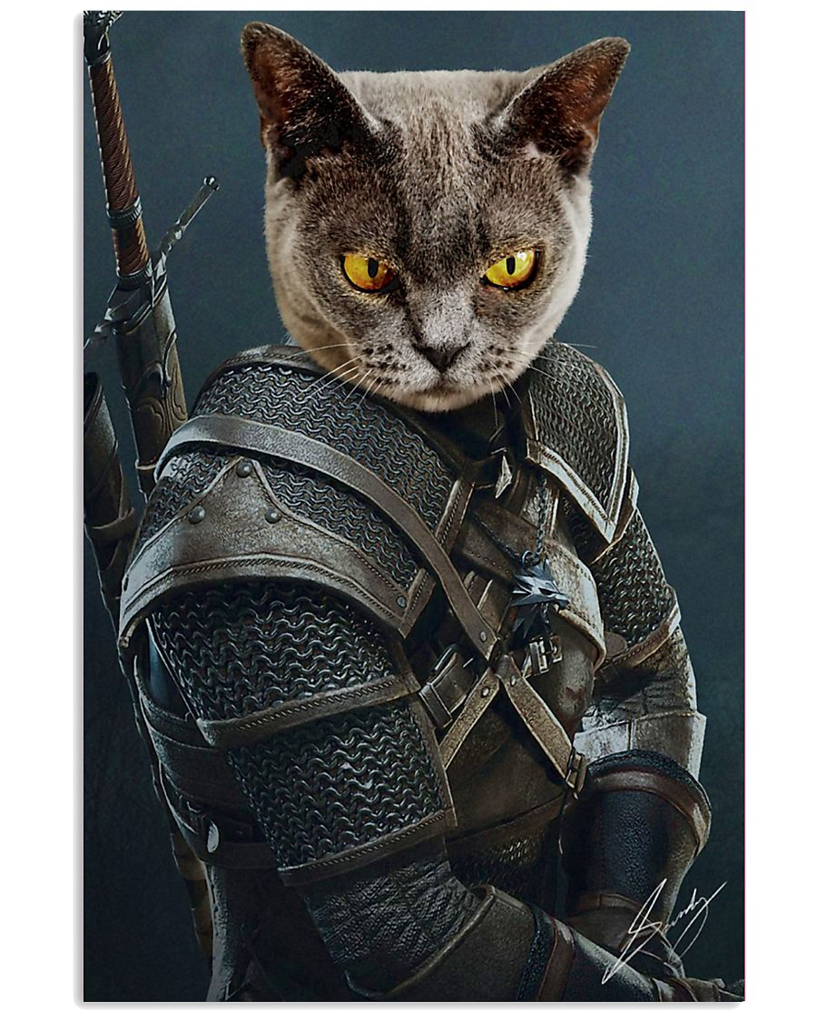 Funny Cat Warrior Poster 11x17 Poster