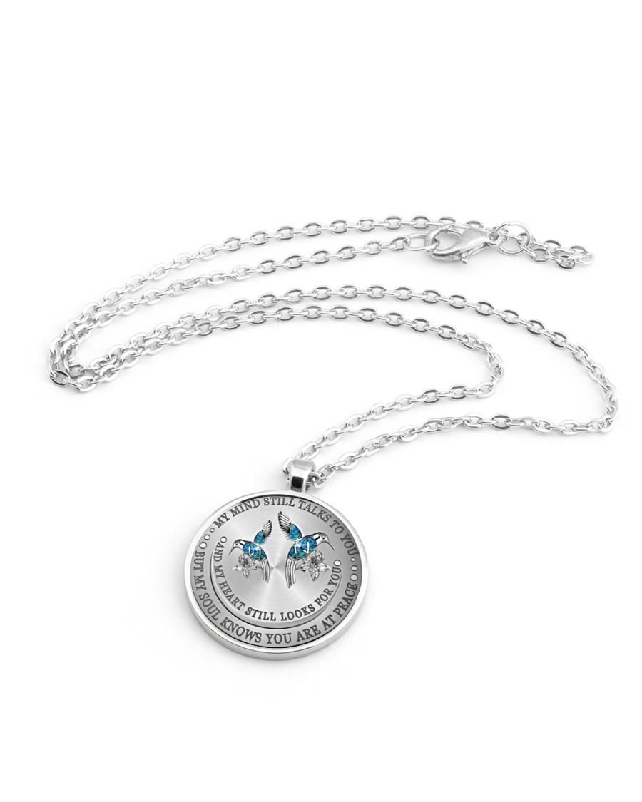 Hummingbird my mind still talks to you necklace Metallic Circle Necklace