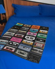 """cassette tapes blanket Small Fleece Blanket - 30"""" x 40"""" aos-coral-fleece-blanket-30x40-lifestyle-front-02a"""