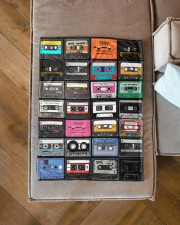 """cassette tapes blanket Small Fleece Blanket - 30"""" x 40"""" aos-coral-fleece-blanket-30x40-lifestyle-front-15a"""