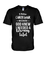 Curly Hair V-Neck T-Shirt tile