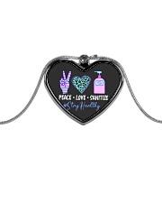 peace love sanitize Metallic Heart Necklace thumbnail