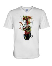 Skull woman cat V-Neck T-Shirt thumbnail