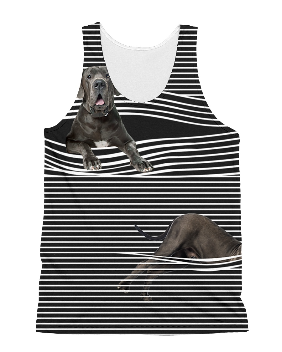 Great Dane Striped  All-over Unisex Tank