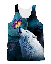 Wolf Moon with Butterfly 1506 All-over Unisex Tank front