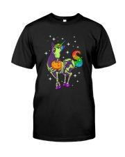 Unicorn Skeleton halloween 0108 Classic T-Shirt front
