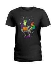 Unicorn Skeleton halloween 0108 Ladies T-Shirt thumbnail