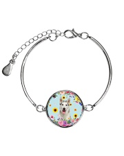 Siberian Husky Flowers Metallic Circle Bracelet thumbnail