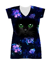 Black Cat with Purple Flowers All-over Dress thumbnail
