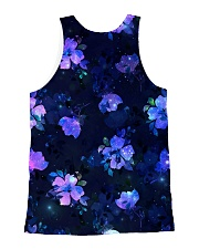Black Cat with Purple Flowers All-over Unisex Tank back