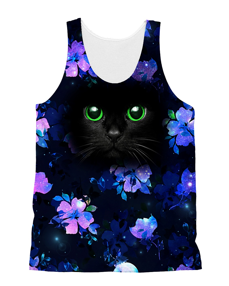Black Cat with Purple Flowers All-over Unisex Tank