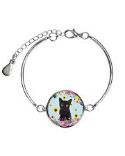 Black Cat Flower 1905 Metallic Circle Bracelet thumbnail