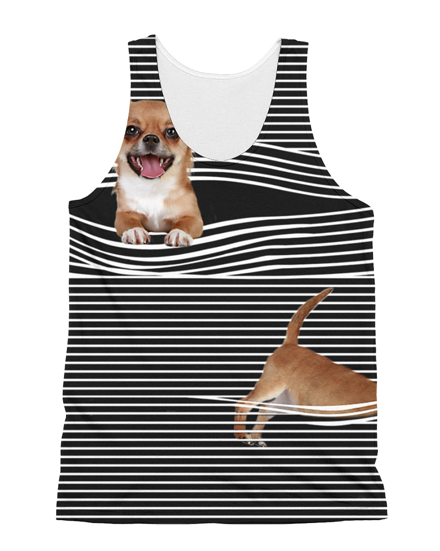 Chihuahua Striped  All-over Unisex Tank
