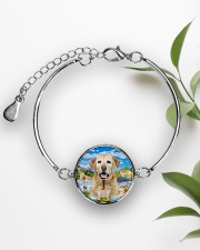 Labrador Retriever Happy  Metallic Circle Bracelet aos-bracelet-metal-front-lifestyle-4