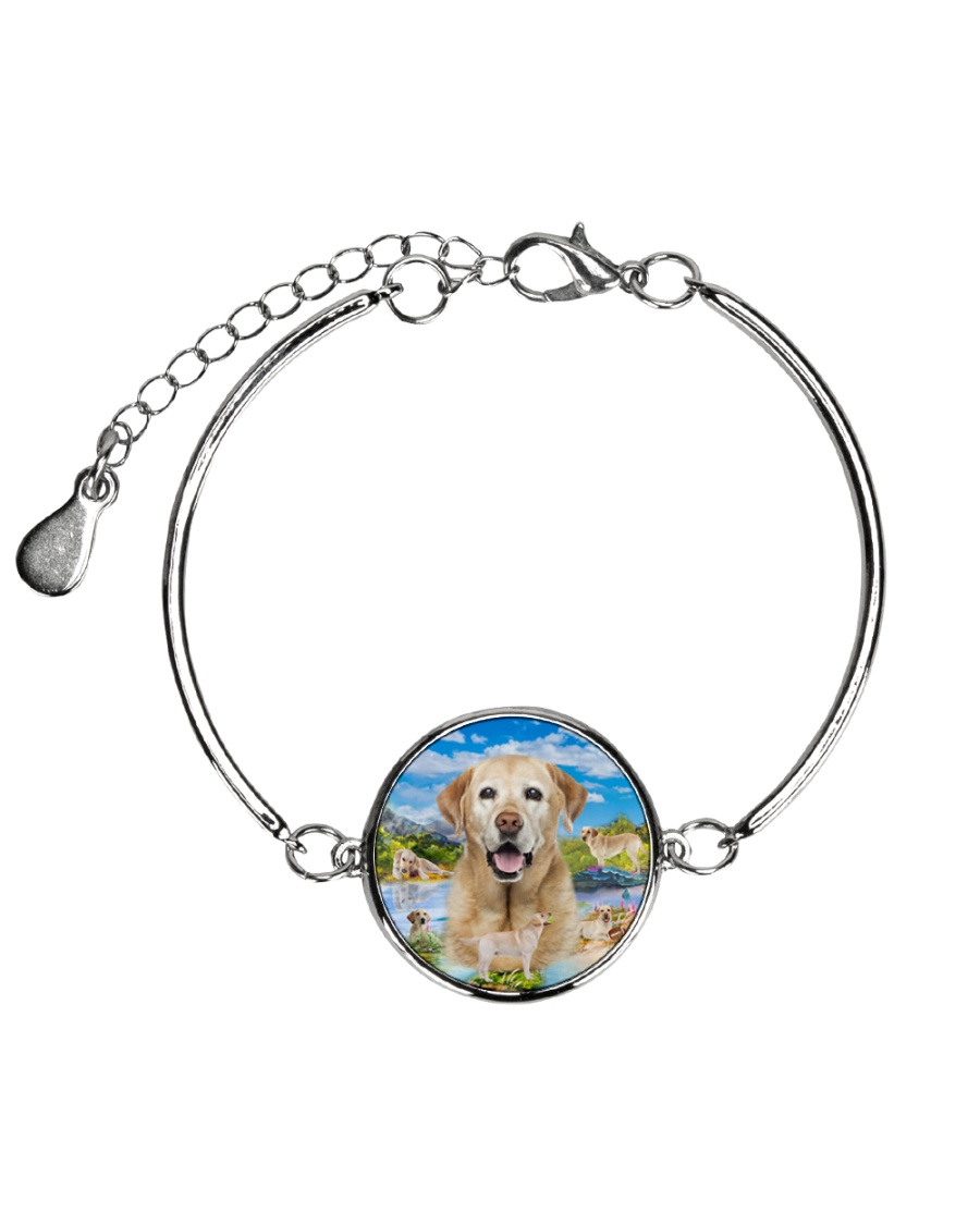 Labrador Retriever Happy  Metallic Circle Bracelet
