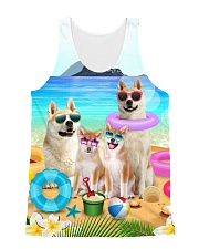Akita family on the beach 1606D All-over Unisex Tank front