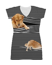 Golden Retriever Striped  All-Over Dress tile
