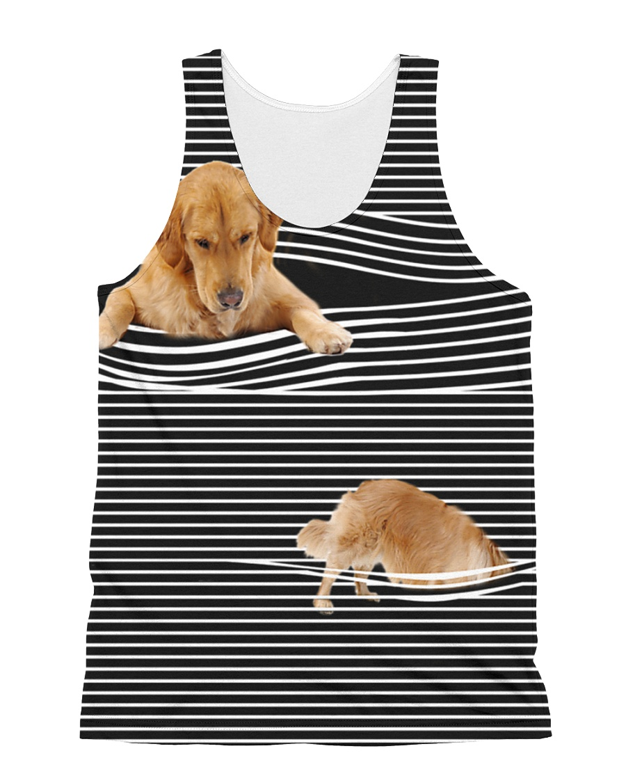 Golden Retriever Striped  All-over Unisex Tank