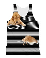 Golden Retriever Striped  All-over Unisex Tank front