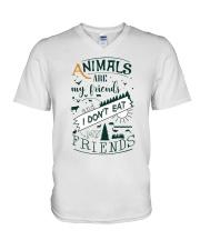 Vegan - Animals are my friends V-Neck T-Shirt thumbnail