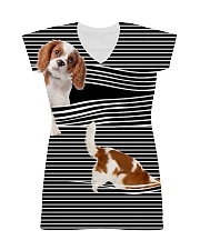 Cavalier King Charles Spaniel Stripped All-over Dress thumbnail