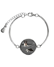 Boston Terrier Striped  Metallic Circle Bracelet thumbnail