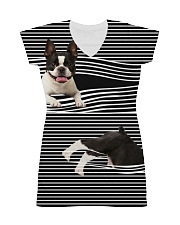 Boston Terrier Striped  All-over Dress thumbnail