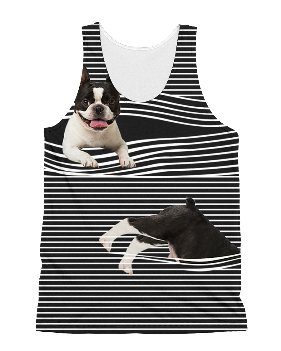 Boston Terrier Striped  All-over Unisex Tank