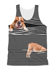 Bulldog Striped All-over Unisex Tank front