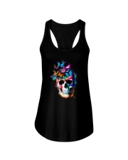 Skull Color Butterfly Ladies Flowy Tank tile