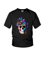 Skull Color Butterfly Youth T-Shirt tile