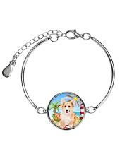 Pembroke Welsh Corgi Beach 1406 Metallic Circle Bracelet thumbnail