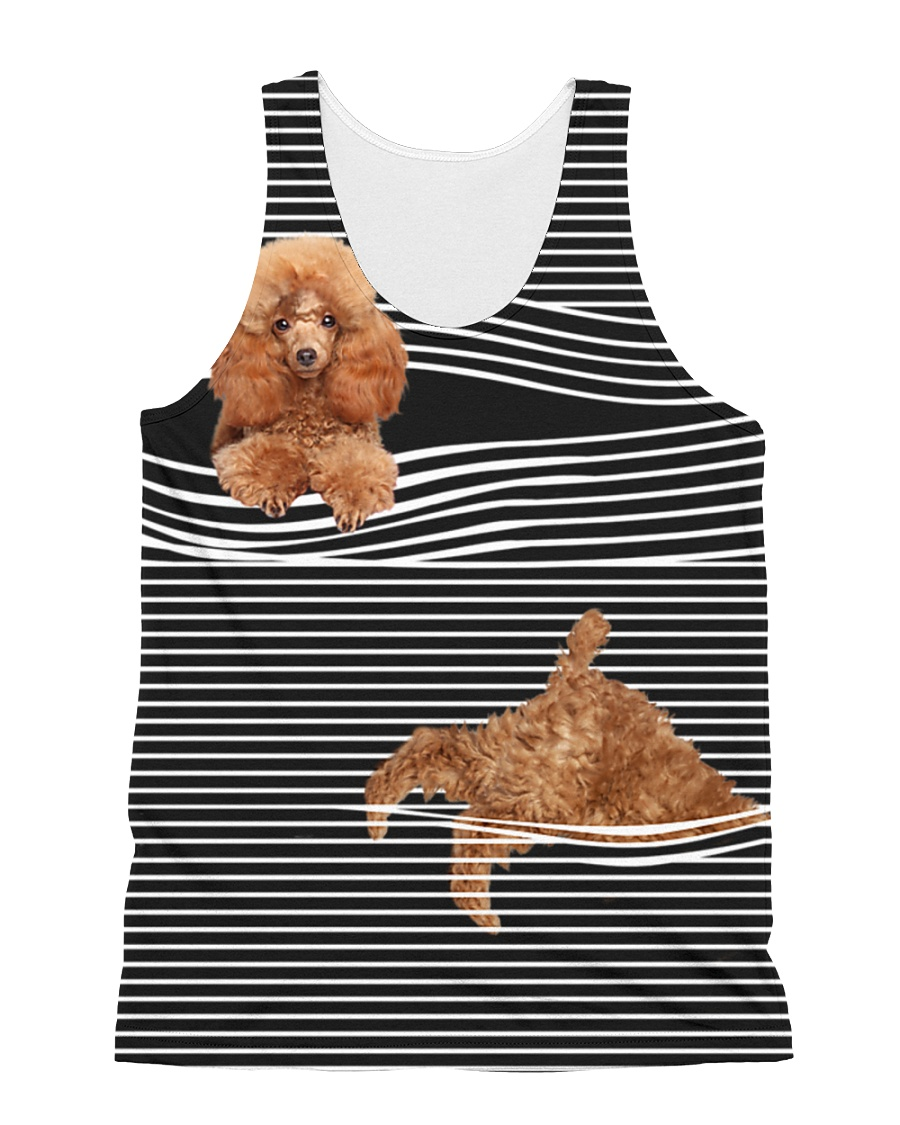 Poodle Striped  All-over Unisex Tank