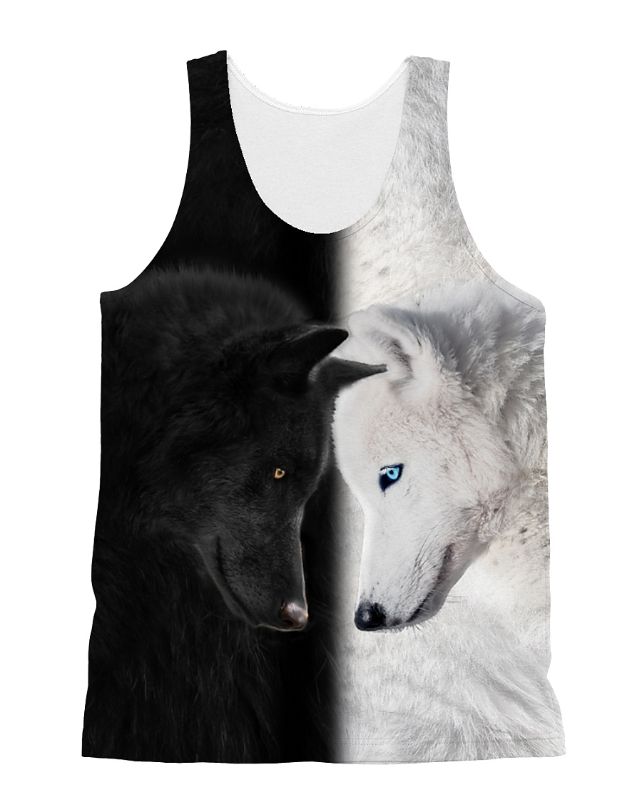 Wolf Black and White All-over Unisex Tank