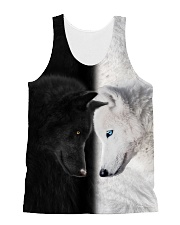 Wolf Black and White All-over Unisex Tank front