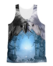 Unicorn Black and White 2408 All-over Unisex Tank front