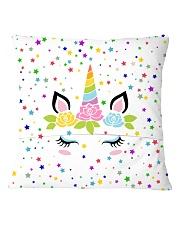 Sleeping unicorn face Square Pillowcase back