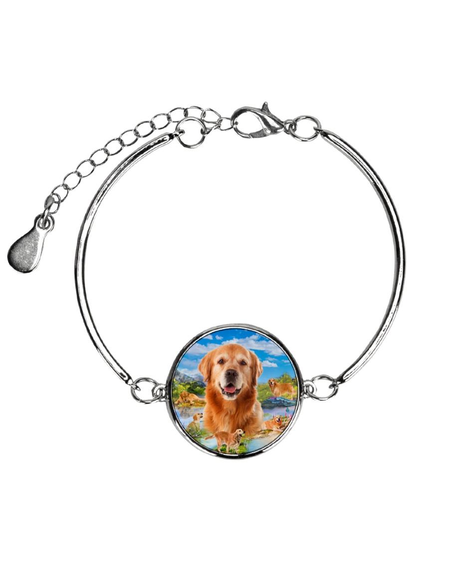 Golden Retriever Happy  Metallic Circle Bracelet