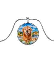 Golden Retriever Happy  Metallic Circle Necklace thumbnail